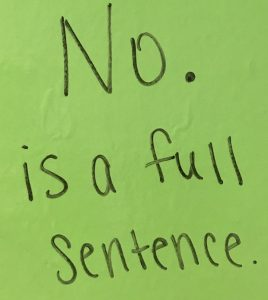 No is a full sentence